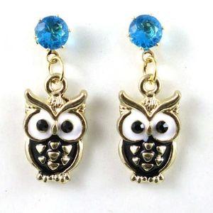 3/$20...Rhinestone Enamel Owl Drop Earrings